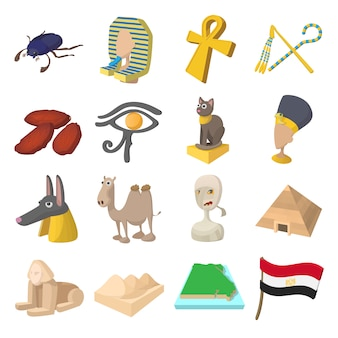 Egypt icons in cartoon style for web and mobile devices