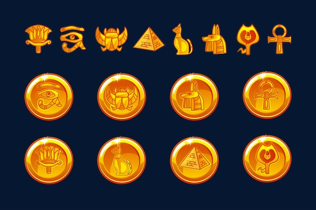 Egypt icons coins and design elements isolated. collection of ancient egypt icons - pyramid, scarab, cat, sphinx, eye, wolf, pharaoh, ornament. objects on a separate layer.