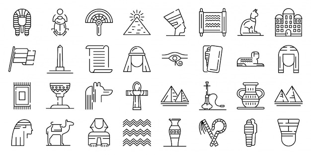 Egypt icons set, outline style
