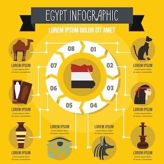 エジプトのインフォグラフィックコンセプト、フラットスタイル