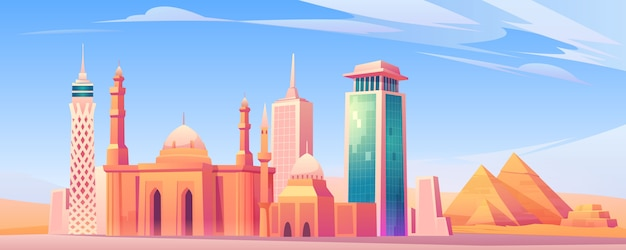 Egypt landmarks, cairo city skyline mobile screen
