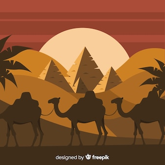 Egypt landscape background with camels and piramids