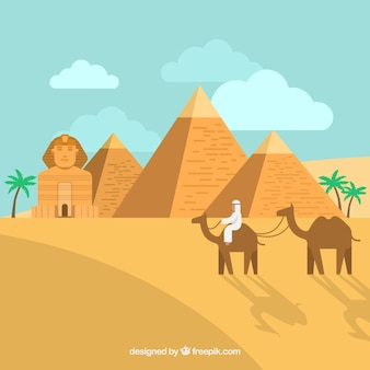Egypt landscape concept with pyramids and caravan