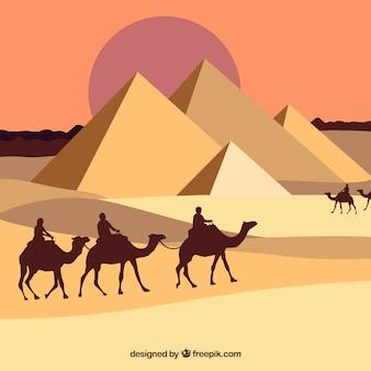Египетский пейзаж с пирамидами и караваном