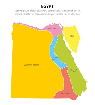 Egypt multicolored map with regions.