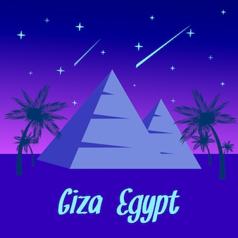 Egypt night landscape cartoon travel postcard.