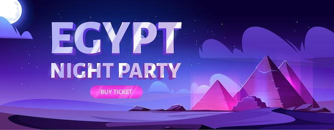エジプトの夜のパーティーのバナー。