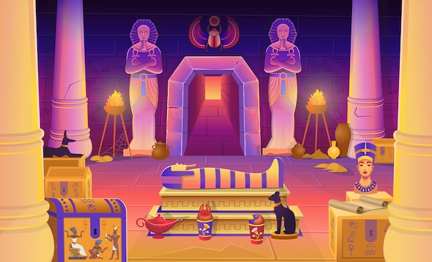 Egypt pharaoh tomb with a sarcophagus, chests, statues of the pharaoh with the ankh, a cat figurine, dog, nefertiti, columns and a lamp.  cartoon illustration for games.
