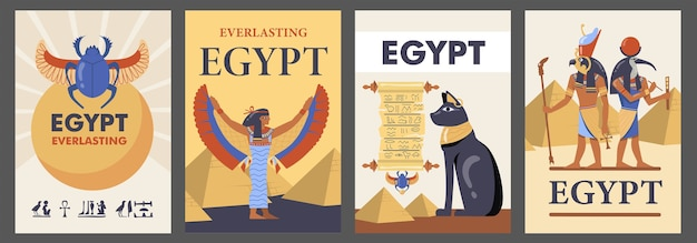 エジプトのポスターセット。エジプトのピラミッド、猫、神々、イシス、テキスト付きのスカラベのベクトルイラスト。旅行チラシやパンフレットのテンプレート