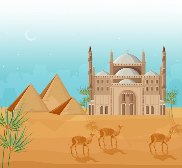 Egypt pyramids card background