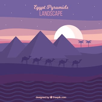 Egypt pyramids landscape with camel caravan in the night