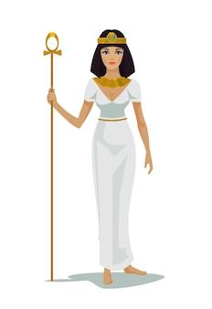 白で隔離されるエジプトの女王クレオパトラ
