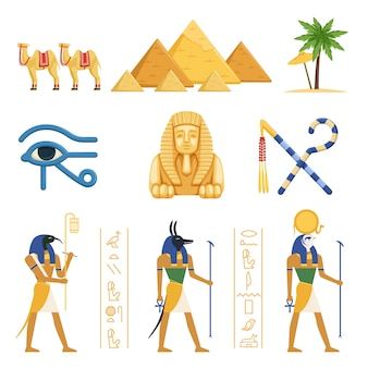 Egypt set, egyptian ancient symbols of the power of pharaohs and gods colorful  illustrations on a white background