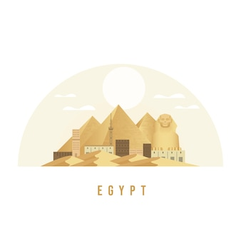 エジプトスフィンクスとピラミッドのランドマークイラスト