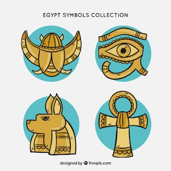 Египетские символы и коллекция богов в ручном стиле