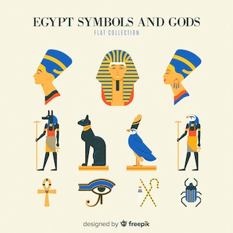 Egypt symbols and gods collection