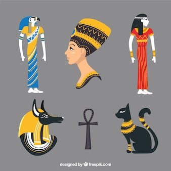 Egypt symbols and gods in hand drawn style