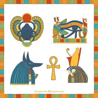 Egypt symbols and gods set in hand drawn style