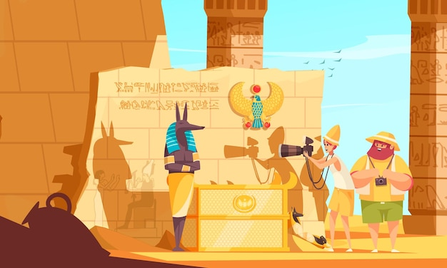 Egypt travel cartoon composition with burial chamber visitors making death god sculpture photo near pharaoh tomb