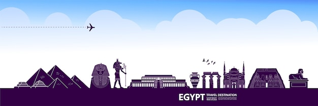 Egypt travel destination grand illustration