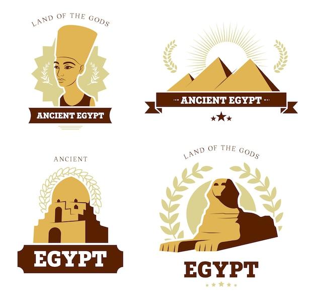 Египет путешествия плоский логотип набор. древние египетские символы религии и культуры пирамид, статуи сфинкса и скульптуры фараона коллекции векторных иллюстраций. египтология и история концепции