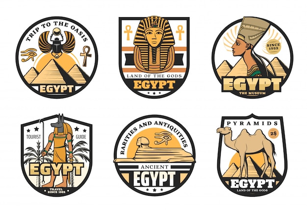 Egypt travel icons of ancient pharaoh pyramids