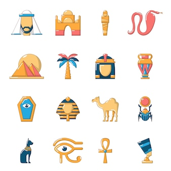 Egypt travel icons set