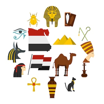 Egypt travel items icons set in flat style
