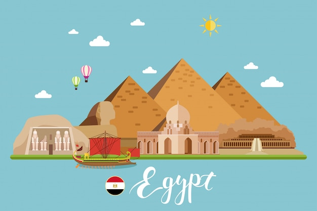 Egypt travel landscape vector illustration