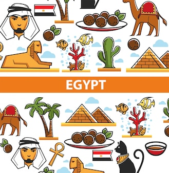 Egypt travel poster with egyptian symbols