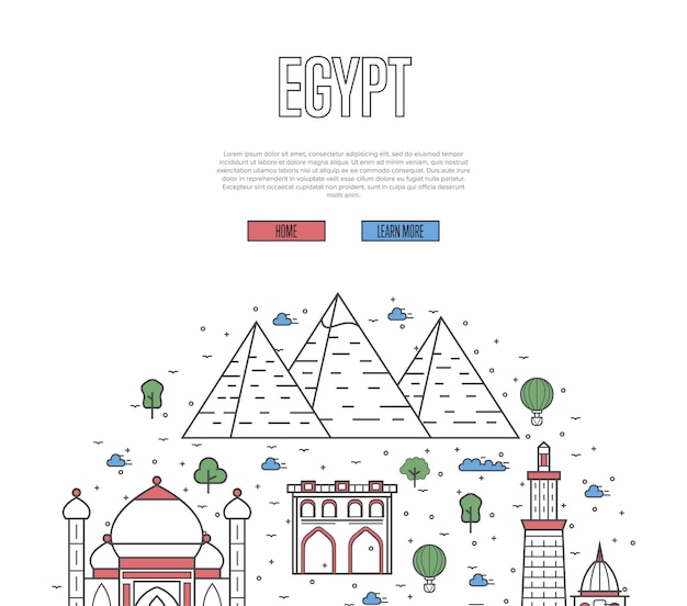 Egypt travel tour template in linear style