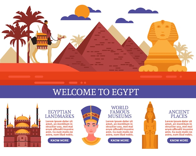 Egypt travel vector illustration