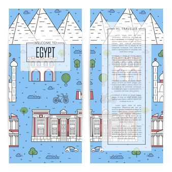 Egypt traveling banner set in linear style