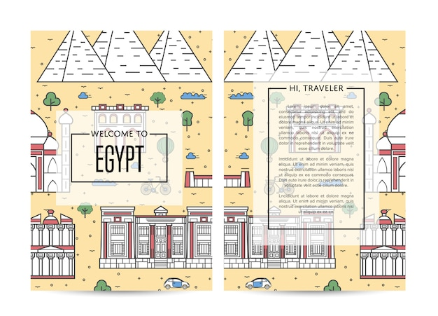 Egypt traveling banners set in linear style