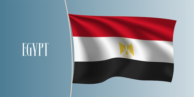 エジプトの旗イラストを振る