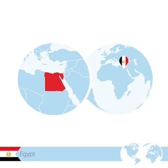 Egypt on world globe with flag and regional map of egypt. vector illustration.