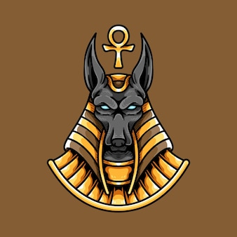 Egyptian anubis head and ankh
