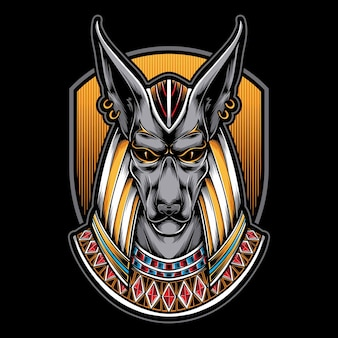 Egyptian anubis head  illustration