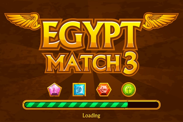 Egyptian on background and jewels icons.  button play and loading game