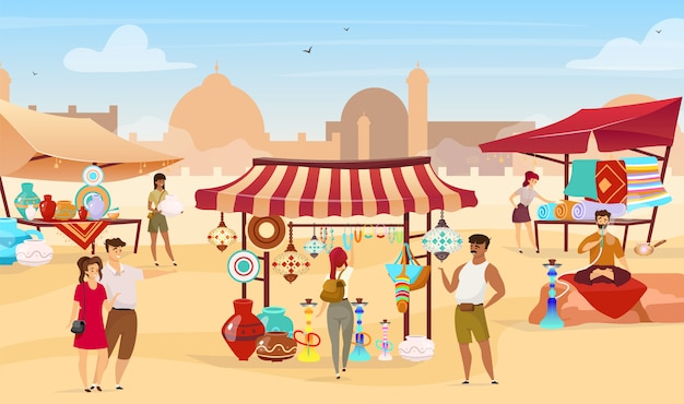 Egyptian bazaar   illustration. muslim vendors at eastern marketplace. tourists choosing souvenirs, handmade ceramics and carpets faceless cartoon characters with desert town on background