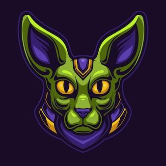 Египетская кошка животное голова мультфильм логотип шаблон иллюстрации. логотип киберспорта