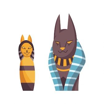 エジプトの猫。バステトの女神。古代エジプト美術の黄金のネックレスを持つ黒い猫。デザインの漫画現実的なアイコン