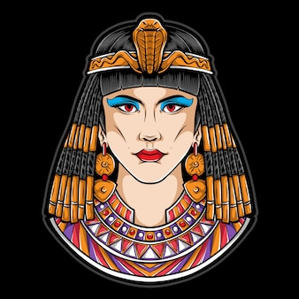 Egyptian cleopatra  logo illustration