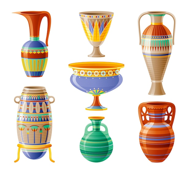Egyptian crockery icon set. vase, pot, amphora, jug. old geometric floral ornament decoration from ancient egypt clay art craft. cartoon 3d  illustration