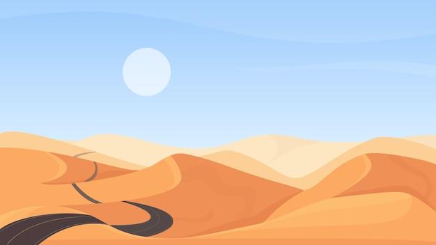 エジプトの砂漠の自然の風景イラスト
