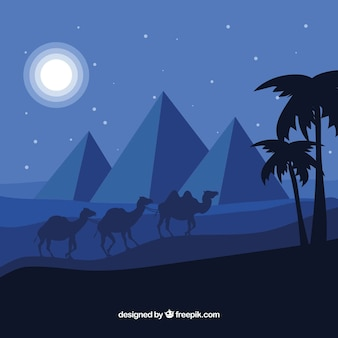 Egyptian desert night landscape with pyramids and caravan
