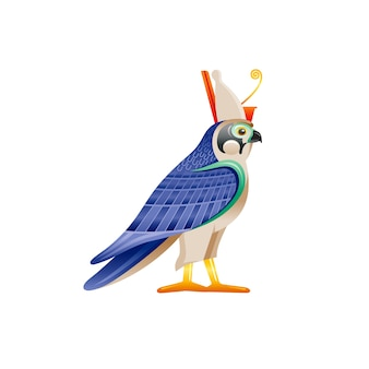 Egyptian falcon horus & ra god symbol. falcon bird character in pharaoh crown wing from ancient egypt art. cartoon 3d realistic statue icon.