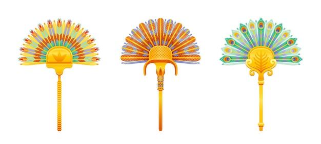 エジプトのファンのイラスト。ファラオの扇子。古代アートアイコンセット