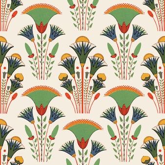 エジプトの花のシームレスなパターンの背景ベクトル