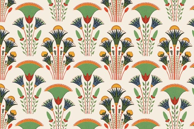 Egyptian floral seamless pattern